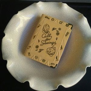 Vintage scalloped bowl and book bank